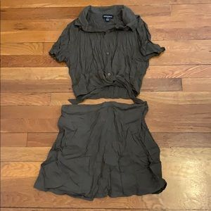 AA army green tie-up blouse lulu skirt set xs s m